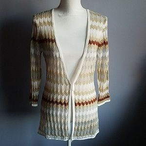 White House Black Market Sweaters - WHBM Metallic Chevron Stripe Cardigan